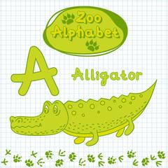 Colorful children's alphabet with animals, alligator