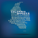 Colombia map made with name of cities - 69773793