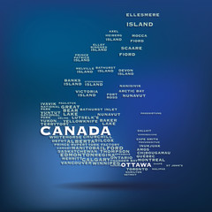 Canada map made with name of cities