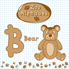 Colorful children's alphabet with animals, bear