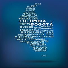 Colombia map made with name of cities