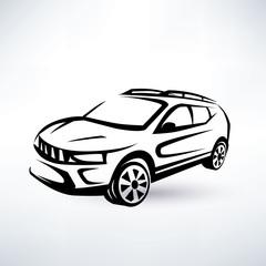 modern crossover, offroader sport car outlined sketch