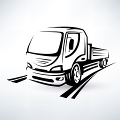 van, bulk cargo transport outlined vector sketch