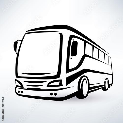 modern bus symbol, outlined vector icon - 69774191