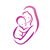 Fototapety mother and her baby silhouette, isolated vector symbol