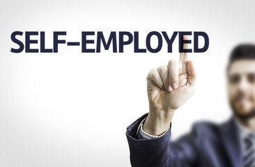 Business man pointing the text: Self-Employed