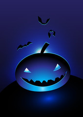 blue evil pumpkin head  in the moonlight vector illustration