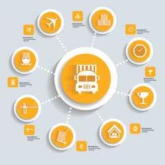 Logistic concept info graphics,yellow vector