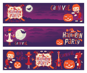 Halloween party. Set of vector banners with funny characters
