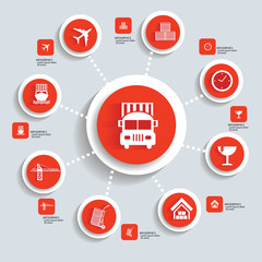 Logistic concept info graphics,orange vector