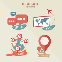 Retro map & business icons,vector