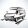 mini van outlined sketch, isolated vector symbol - 69774901