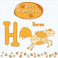 Colorful children's alphabet with animals, horse