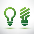 green bulb icons set