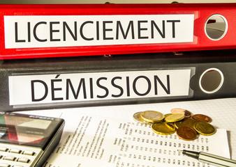 Licenciement, Démission (emploi, classeur)