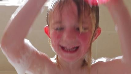 Little Girl Washing Hair In Bubble Bath