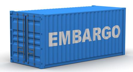 Эмбарго (embargo). Надпись на грузовом контейнере