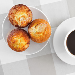 magdalenas, typical spanish plain muffins, and coffee