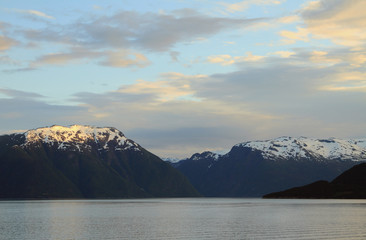 Aurlands-fyord at sunset, Norway