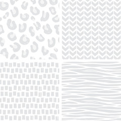 seamless patterns in gray and white