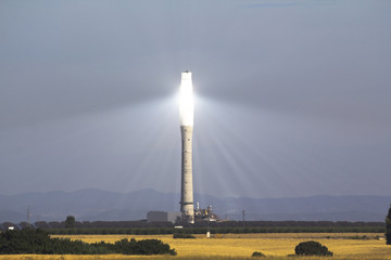 Solar tower in a sustainable power plant