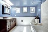 Fototapety Beautiful lavender bathroom with white wall trim