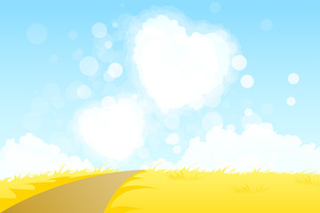 Yellow Landscape with  Road and Heart Shape Clouds