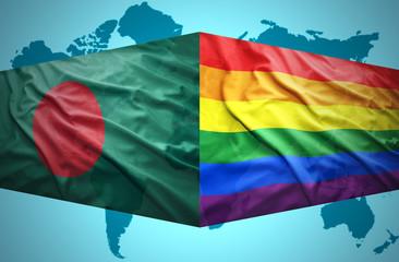 Waving Bangladesh and Gay flags