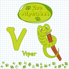 Colorful children's alphabet with animals, viper