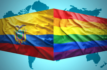 Waving Ecuadoran and Gay flags