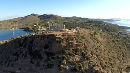 Temple of Poseidon in Sounio Greece aerial footage