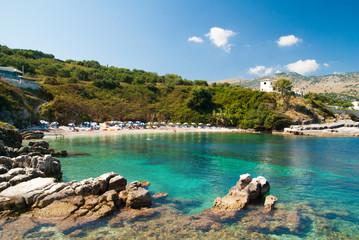 Kassiopi Beach, Corfu Island, Greece. Sunbeds and parasols