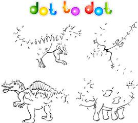 Funny cartoon dinosaurs dot to dot
