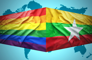 Waving Myanmar and Gay flags