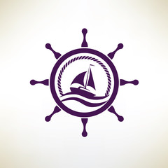 yacht symbol, regatta and travel concept