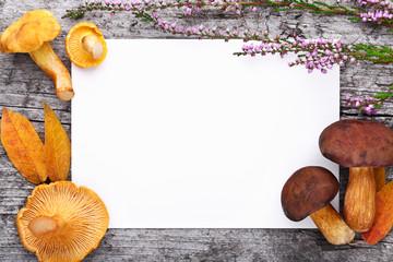 Herbstliche Deko & Schild vor Holzhintergrund
