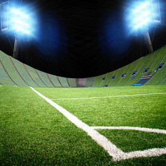 soccer field with the projectors