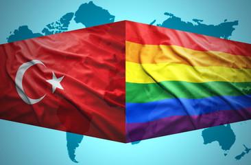 Waving Turkish and Gay flags