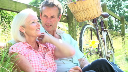 Middle Aged Couple Relaxing On Country Cycle Ride