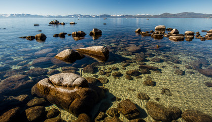 Clear water at Tahoe Lake