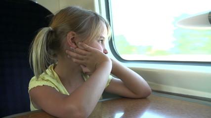 Girl Relaxing On Train Journey