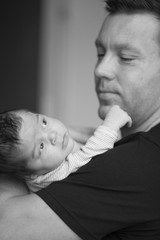 Newborn baby with father