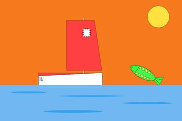 Kleines Segelschiff im Abendrot