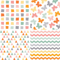 seamless hipster pattern set orange pink gray
