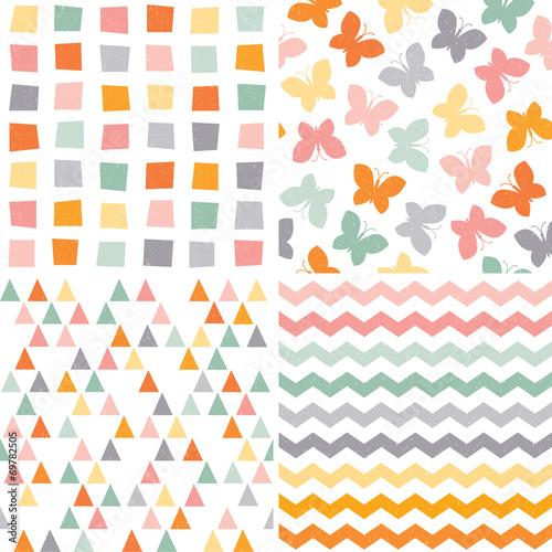 seamless hipster pattern set orange pink gray