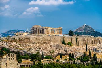l'acropole a Athènes vue depuis la colline de filopappou
