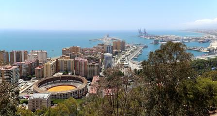 View of Malaga with the Plaza de Toros (bullring), Spain