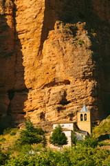 Mallos de Riglos Church in Huesca, Aragon, Spain