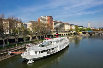 Boat on Danube river in Vienna Austria