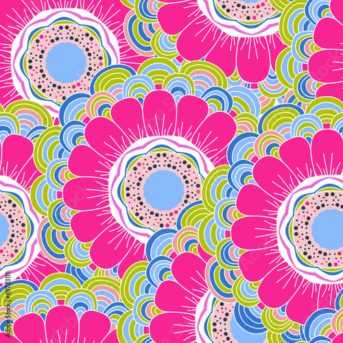 Obraz na Szkle Vector seamless hand-drawn pattern with flowers and leaves